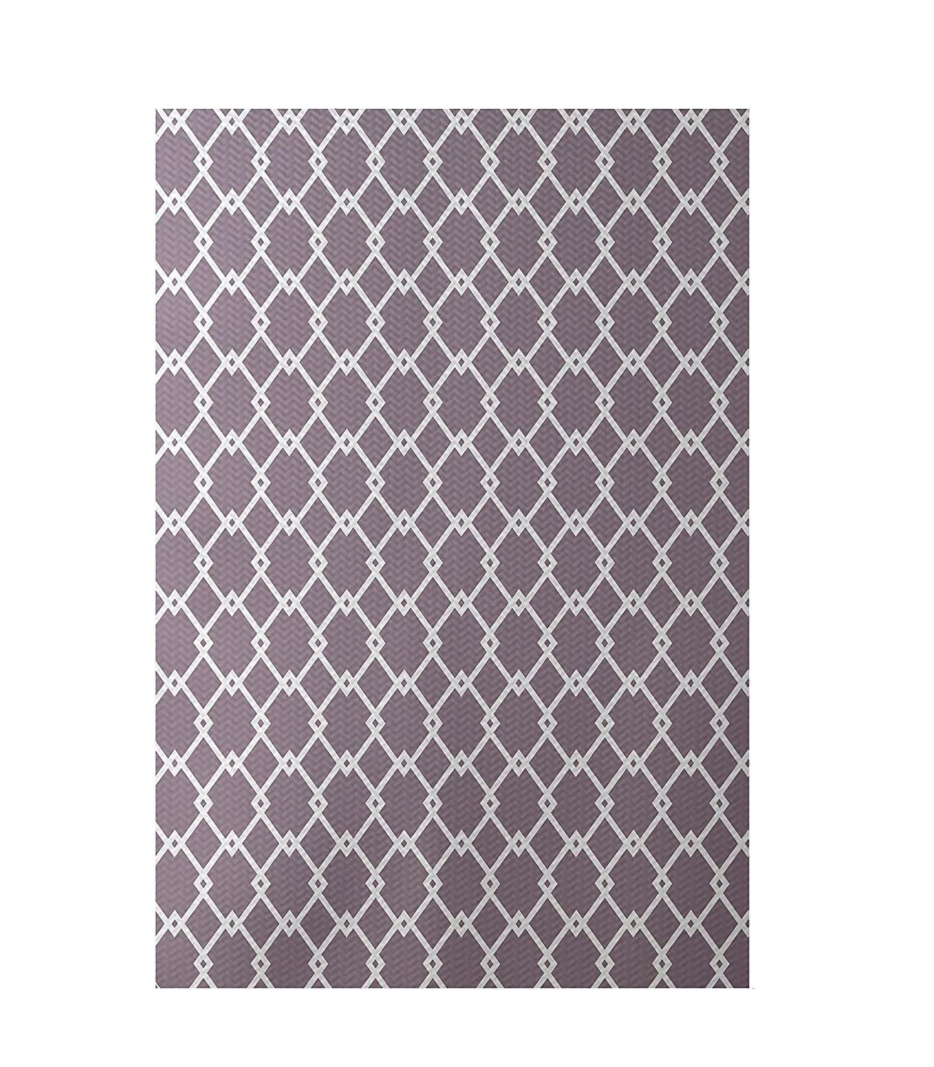 E by design RGN104PU14-23 Link Lock Geometric Print Indoor/Outdoor Rug, Smog