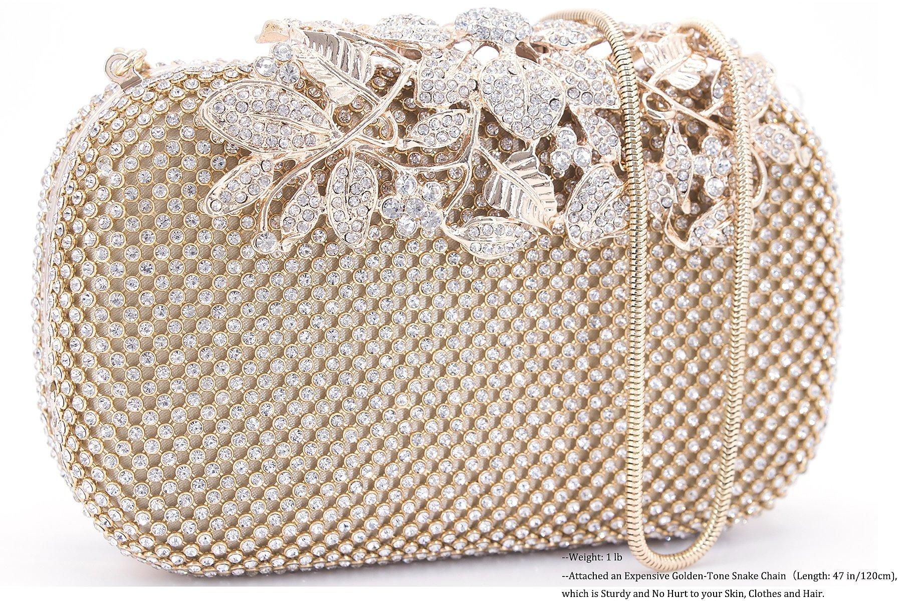 Dexmay Luxury Flower Women Clutch Purse Rhinestone Crystal Evening Bag for Wedding Party Gold