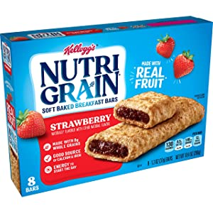 Kellogg's Nutri-Grain, Soft Baked Breakfast Bars, Strawberry, Made with Whole Grain, 10.4 oz (8 Count)