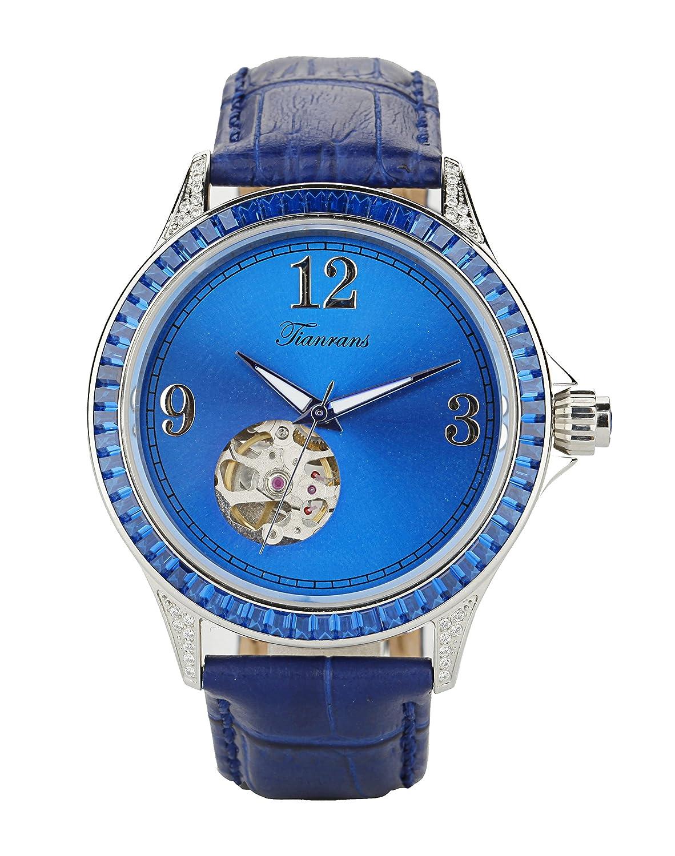 tianrans Damen Kristall akzentuierten LÜnette blau Sonnenstrahl Skelett Zifferblatt Leder Band automatische Armbanduhr
