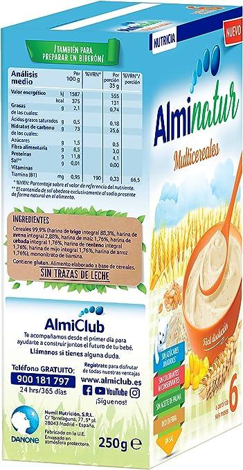 Alminatur Papilla de multicereales a partir de los 6 meses Paquete de 5 x 250 g - Total: 1.25 kg