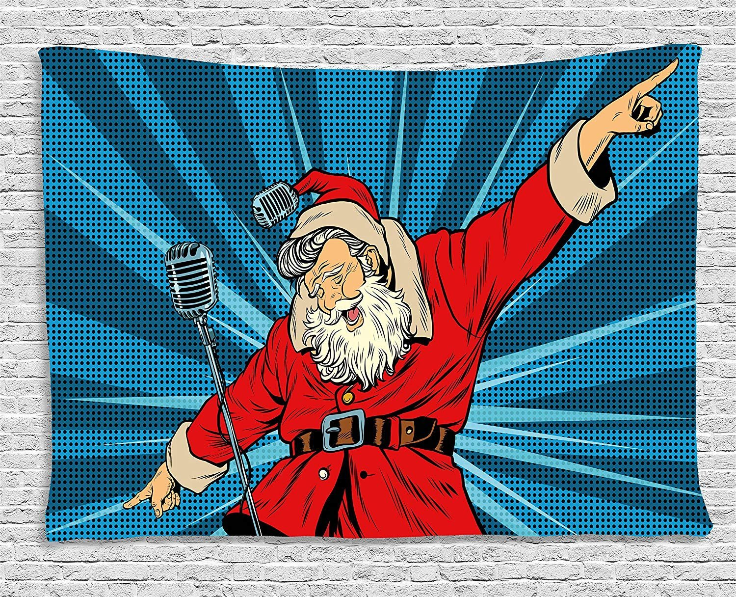 XHFITCLtd Popstar Party Tapestry, Pop Art Style Santa Claus Superstar Singer on Stage with Retro Microphone, Wall Hanging for Bedroom Living Room Dorm, 80 W X 60 L Inches, Blue Red Tan