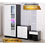 Harmin Ltd Ossotto Mirrored High Gloss 3 Piece Bedroom Furniture Set - Soft Close Wardrobe, 4 Drawer Chest, Bedside Cabinet (White on Black)