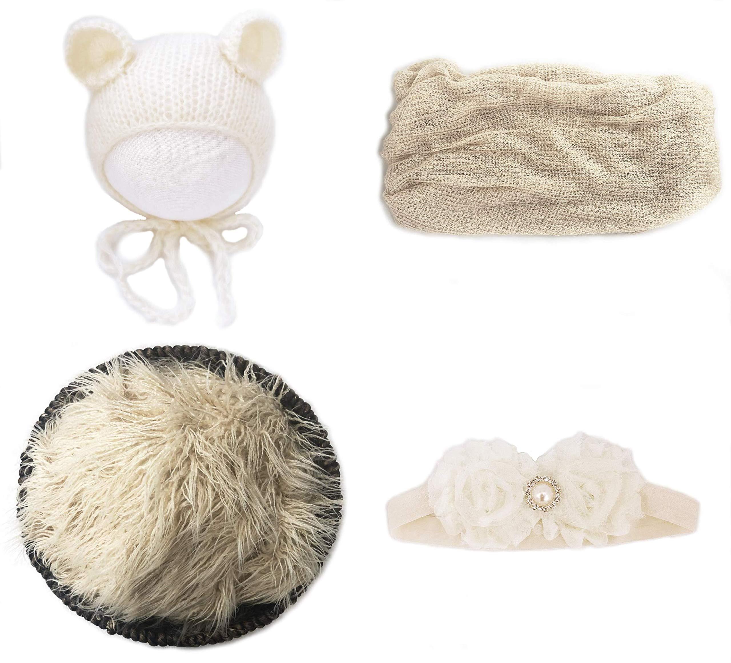 Jay-EE Newborn 4 Pcs Photography Props Set Baby Photo Prop Long Ripple Stretch Wrap, Headband, Ears Hat and Faux Fur Backdrop Blanket (Beige)