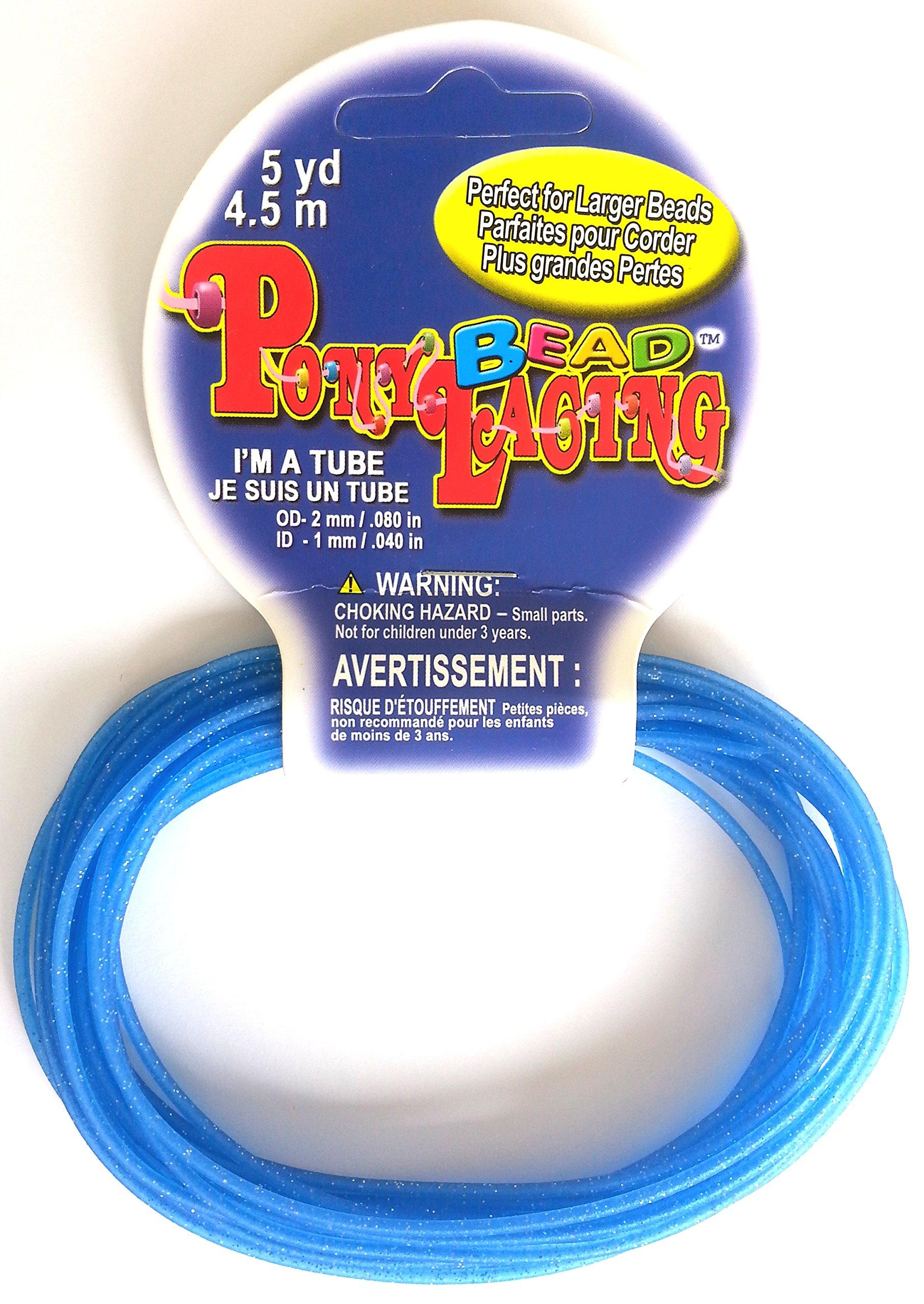 Glitter Blue Pony Bead Lacing 5 Yards (4.5M)