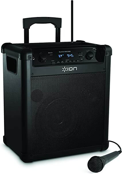 ION Audio Block Rocker (iPA8A)  Portable Bluetooth Speaker with Mic,  Radio, and Wheels & Handle for Transport