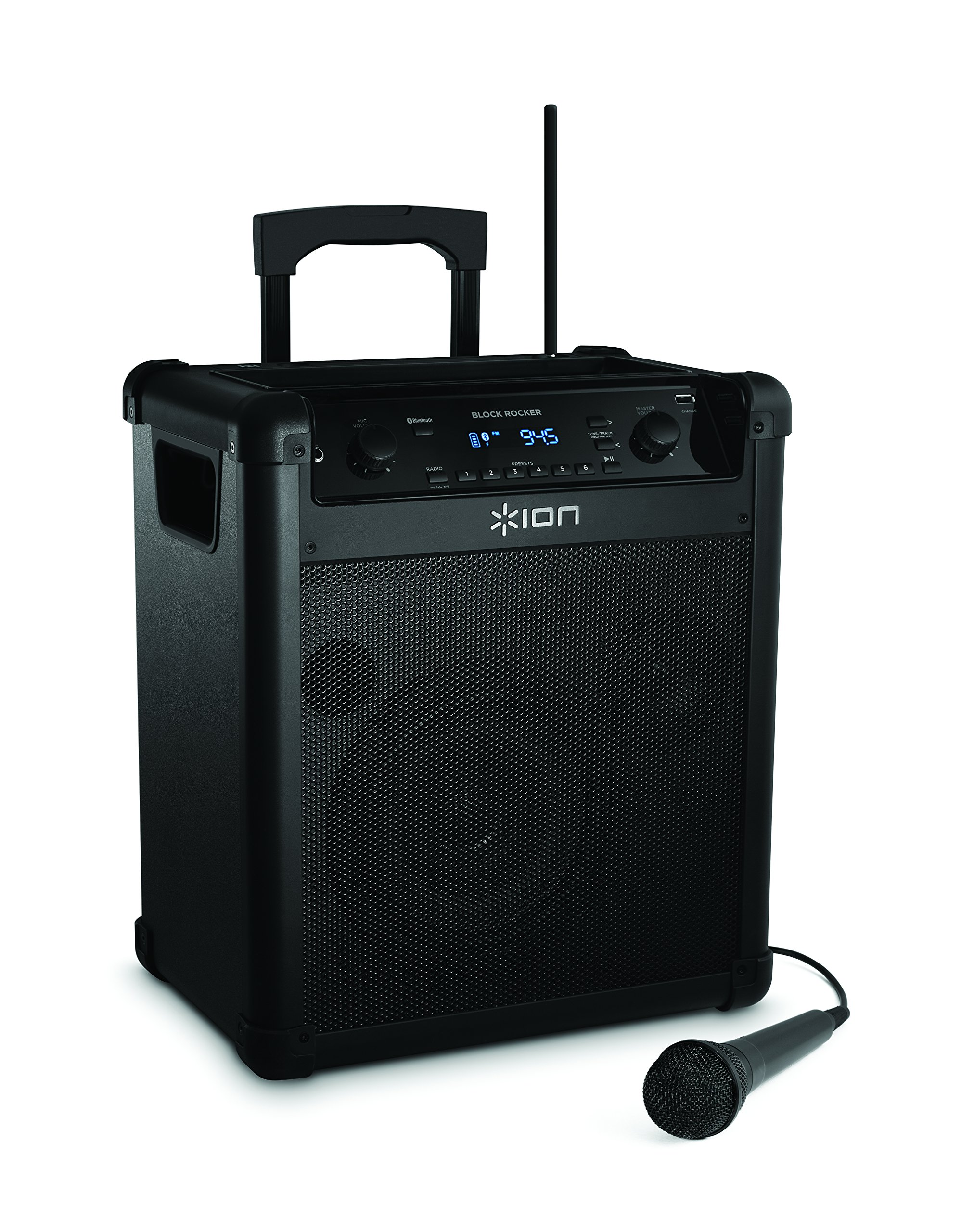 ION Audio Block Rocker (iPA76A) | Portable Bluetooth Speaker with Mic, Radio, and Wheels & Handle for Transport by ION Audio