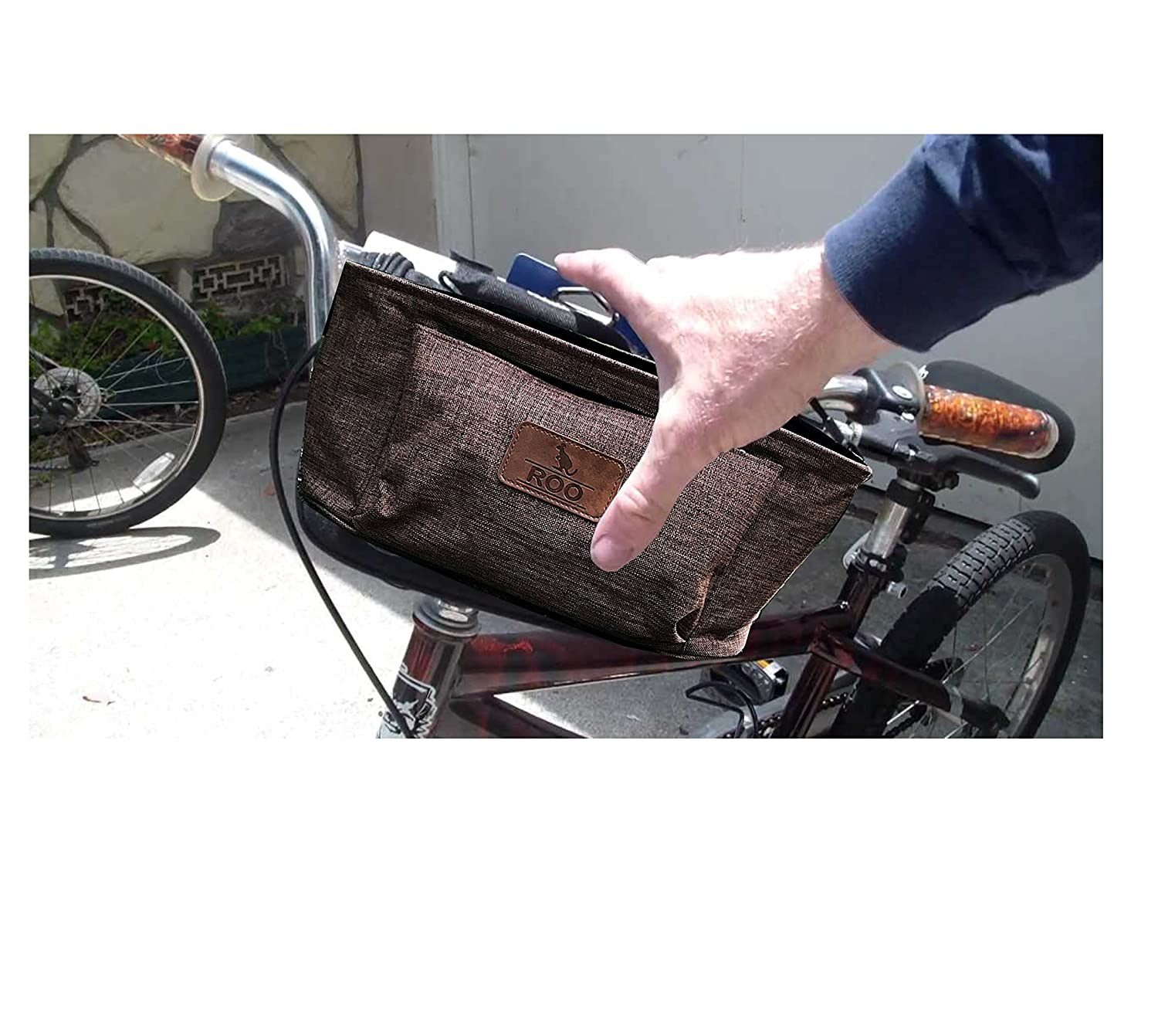 """Roo Travel Bag RED Parent Console Stroller Organizer Bike Handlebar Bag 13/"""" x 6/"""" x 6/"""" Made of Flax Universal Fit"""