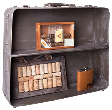 Distressed Metal Suitcase Shelf   Decorative Open Display Cabinet