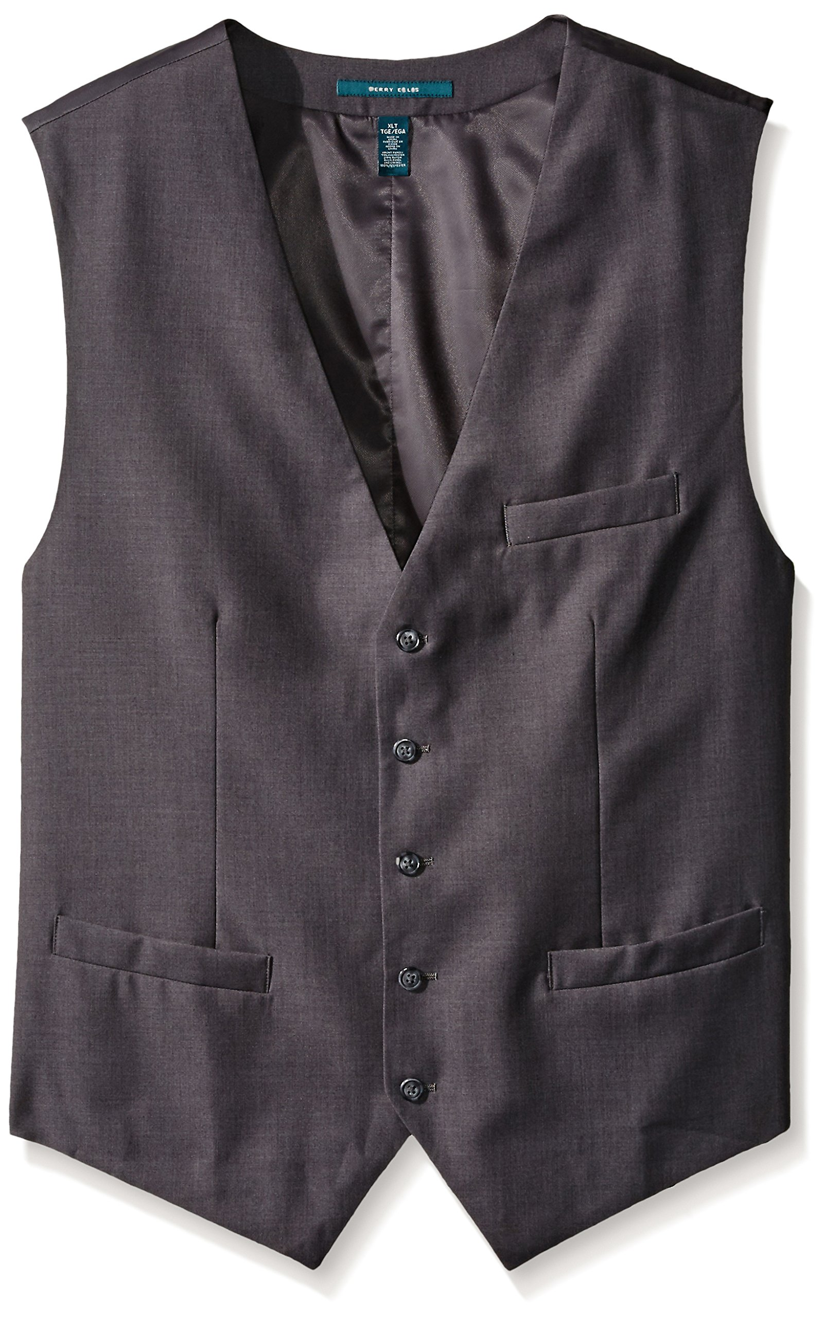 Perry Ellis Men's Big-Tall Solid Vest, Charcoal Heather, X-Large/Tall