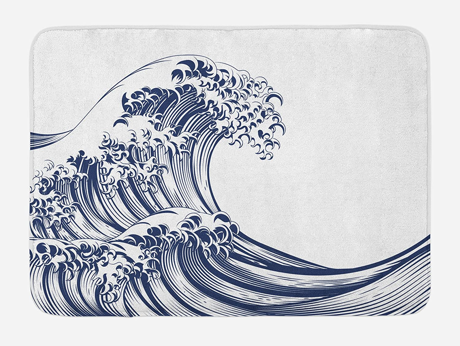 "Ambesonne Japanese Wave Bath Mat, Oriental Vintage Wave Monochrome Kanagawa Inspired Antique Art, Plush Bathroom Decor Mat with Non Slip Backing, 29.5"" X 17.5"", Navy Blue"
