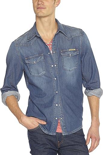 Pepe Jeans Carson, Camisa para Hombre, Azul Denim K21 Dark ...