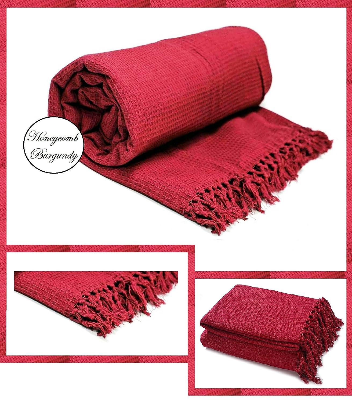 Couvre-lit 100% en coton tissé - Motif alvéolé - Pour chaise, canapé et lit, 100 % coton, Red, Chair : 127cm x 152cm canapé et lit Bedding Instyle