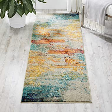 Nourison Celestial Modern Abstract Area Rug Runner, 2'2  x 7'6 , Multicolor Grey
