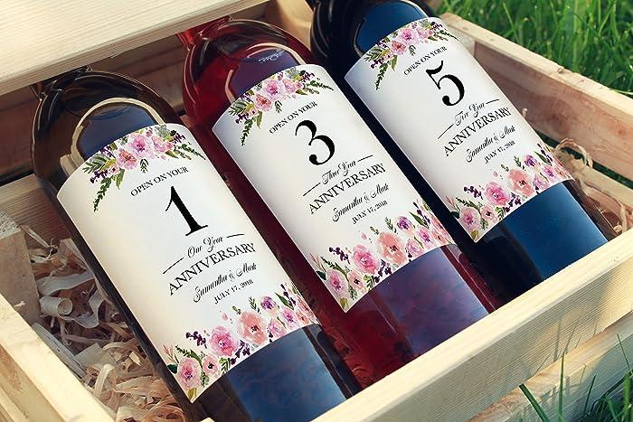 Amazon.com: ○ SET of 5 ○ CUSTOM Wedding Milestones Wine Labels ...