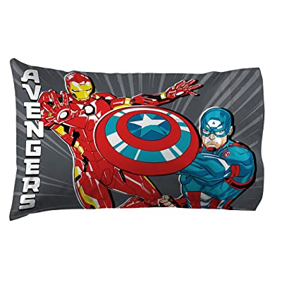 Jay Franco Marvel Avengers Mightiest Heroes 1 Pack Pillowcase - Double-Sided Kids Super Soft Bedding - Features Iron Man, Captain America, Thor & Hulk (Official Marvel Product): Home & Kitchen