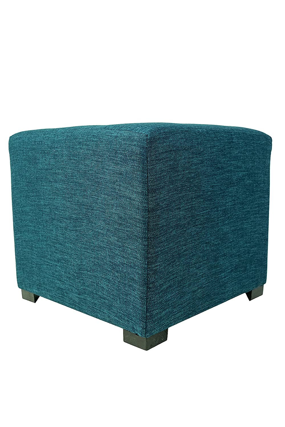 MJL Furniture Designs Merton Collection, Fabric Upholstered Modern Cube Foot Rest Ottoman with 4 Button Tufting, Key Largo Series, Zen Teal MERTON-KLARGOZENTEAL