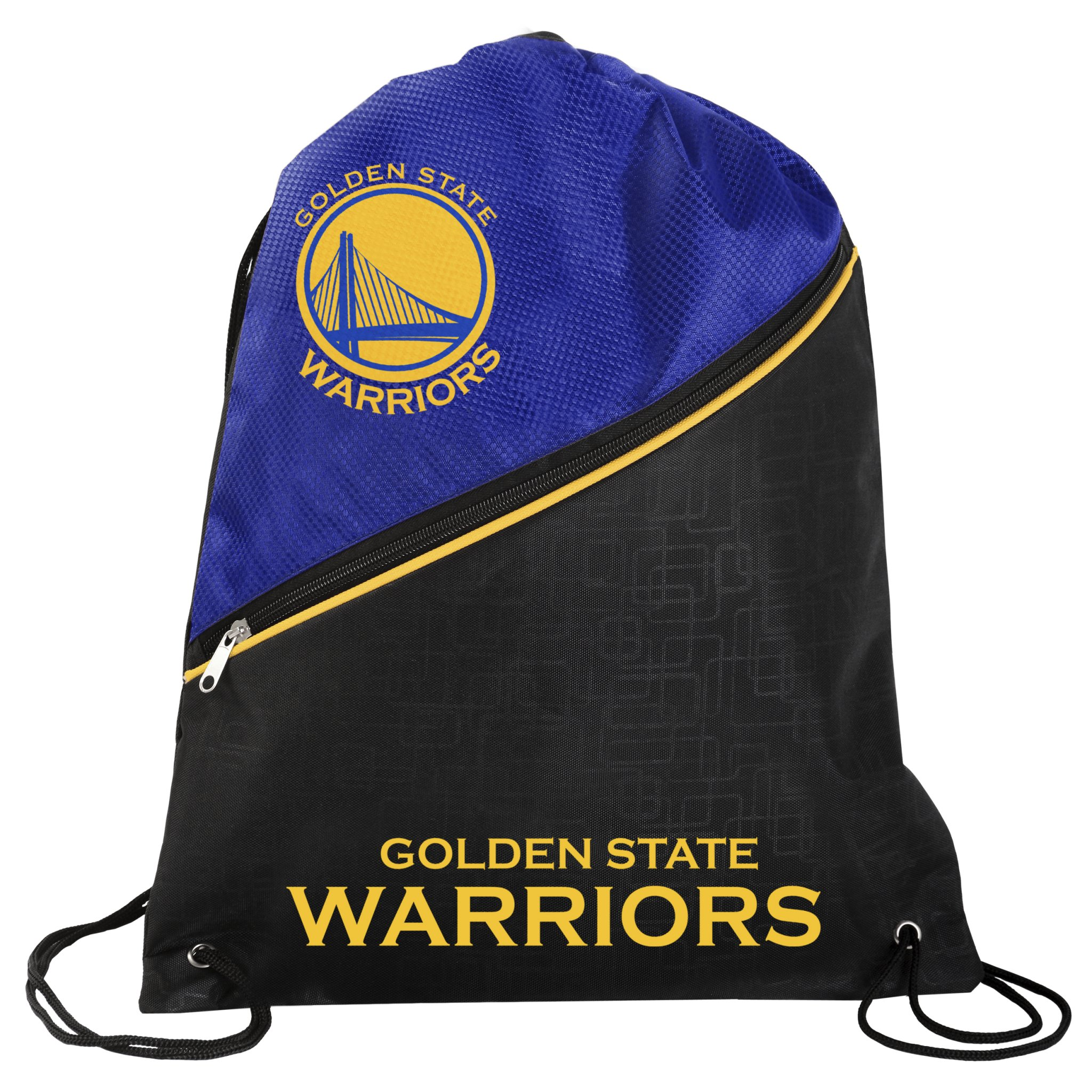 FOCO Golden State Warriors Official NBA High End Diagonal Zipper Drawstring Backpack Gym Bag