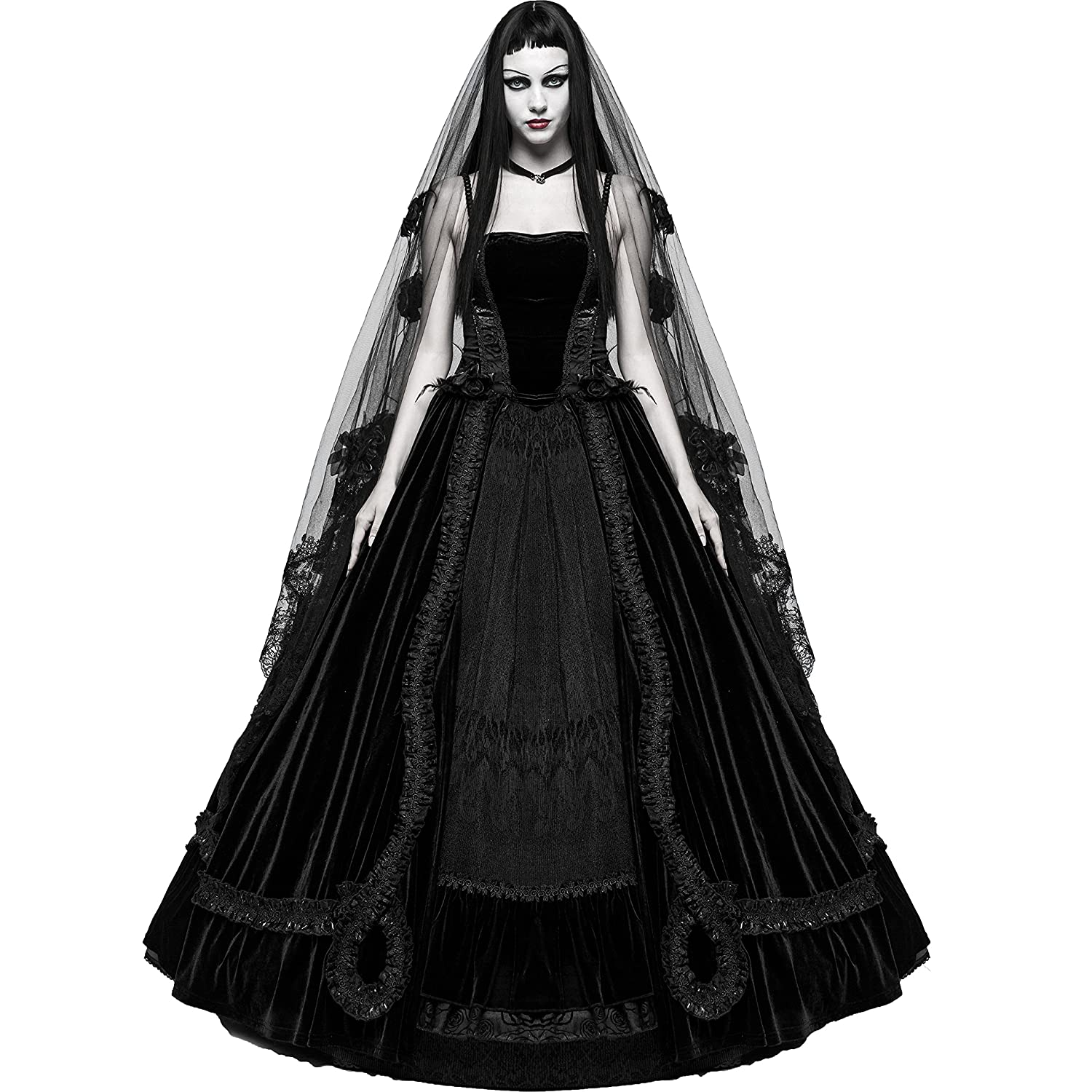 9b6df425a362 Top8: Punk Rave Black Romantic Gothic Victorian Ball Gown Long Formal  Wedding Prom Party Dress