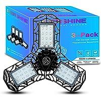 PierShine Garage Lights 3 Pack 40W - LED Garage Light Deformable Garage Lighting 4000LM 6500K, Adjustable 3-Leaf LED…