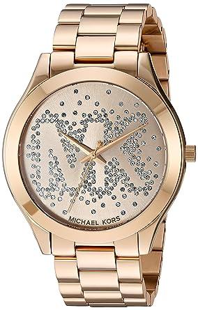 d9c5b2c4e1ba Amazon.com  Michael Kors Women s Slim Runway Logo Gold-Tone Watch MK3590   Watches