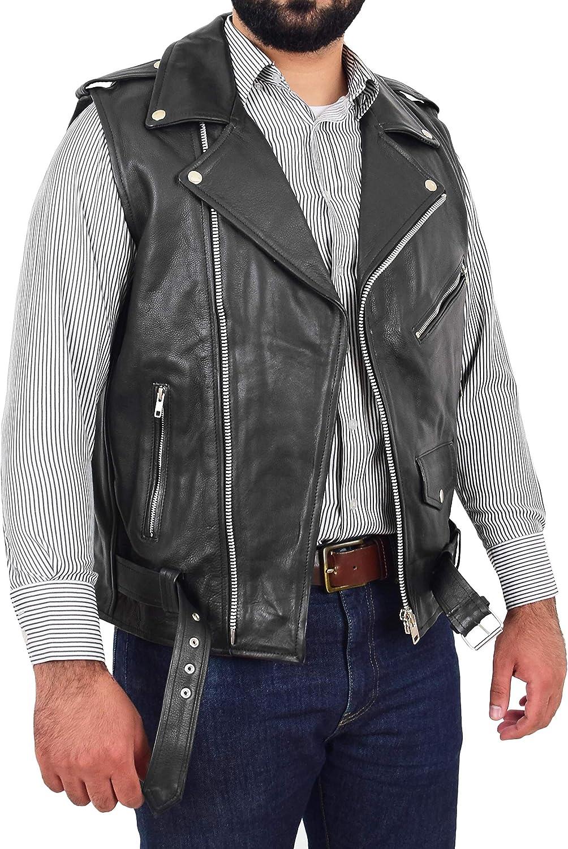 A1 FASHION GOODS Mens Cowhide Leather Biker Waistcoat Sleeveless Vest Classic Brando Style Gilet Hurley Black