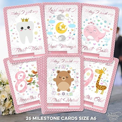 26 Tarjetas de hito para bebé, Recuerdo de Primer año para ...