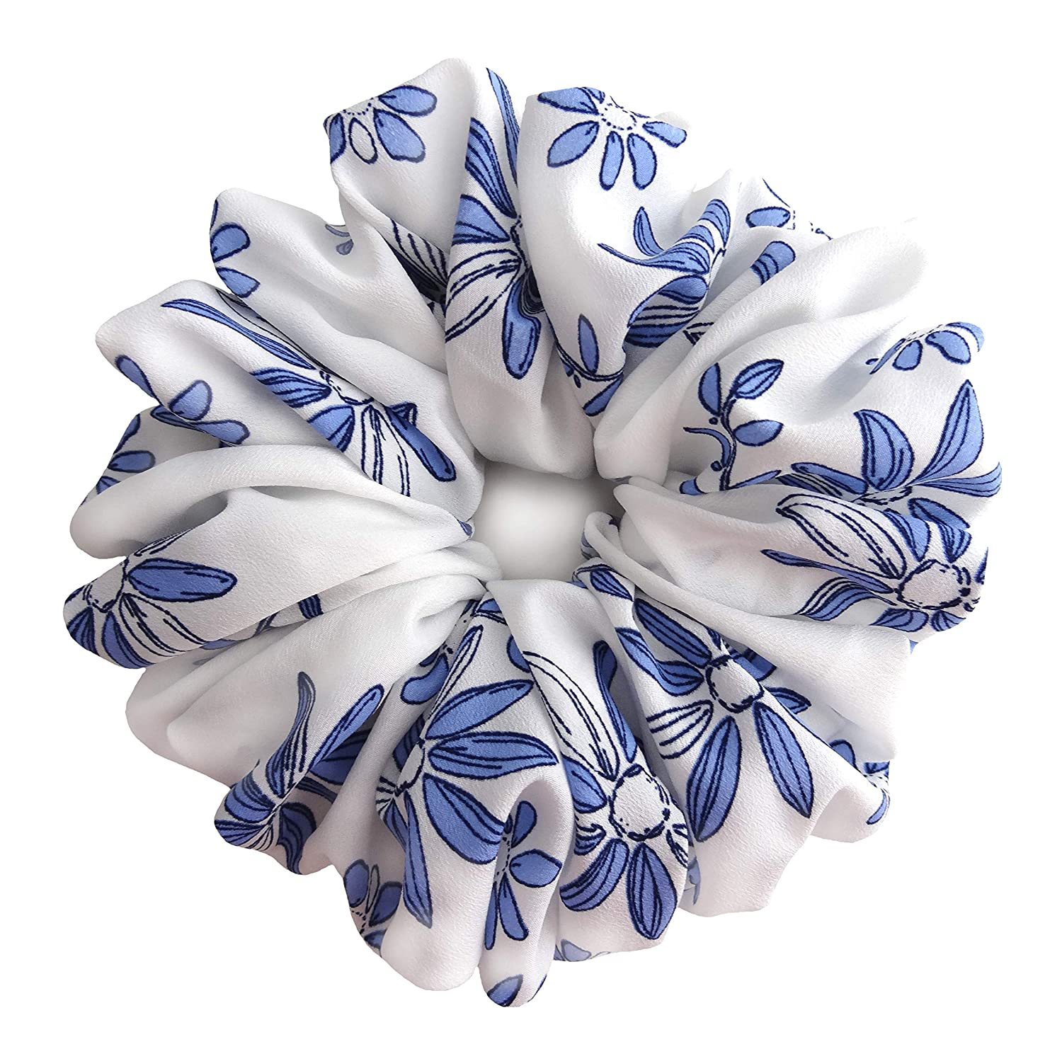 White Blue Crepe Chiffon Large Hair Scrunchies Elastic Hair Band Ponytail Holder Teen Girls Women