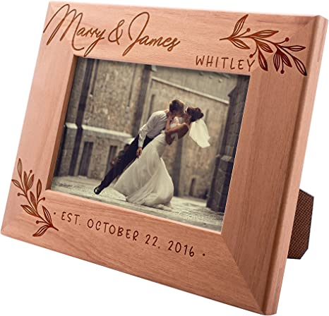 Wedding Photo Frame Gift Unique Personalize Plaque Anniversary Engagement New Baby Special Occasion First Christmas Wood