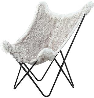 Abington Lane Faux Fur Butterfly Chair - Luxurious Soft Plush Chair Metal Frame (White Faux