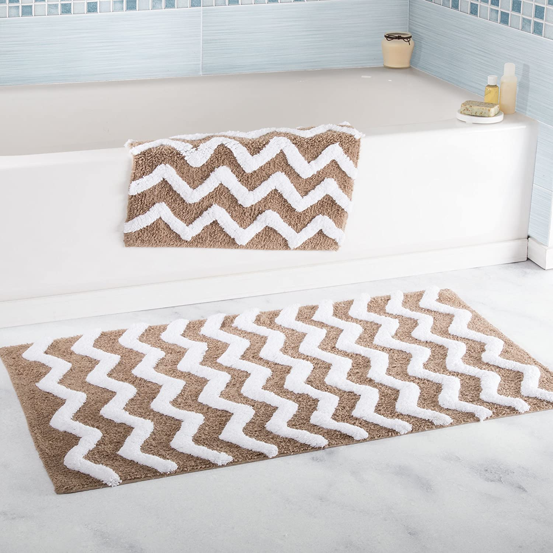 Lavish Home 100% Cotton 2 Piece Chevron Bathroom Mat Set - Taupe
