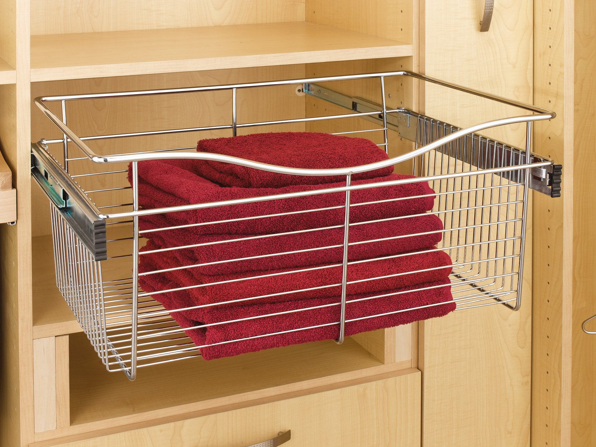 Rev-A-Shelf - CB-242007SN-1 - Satin Nickel Closet Pull-Out Basket