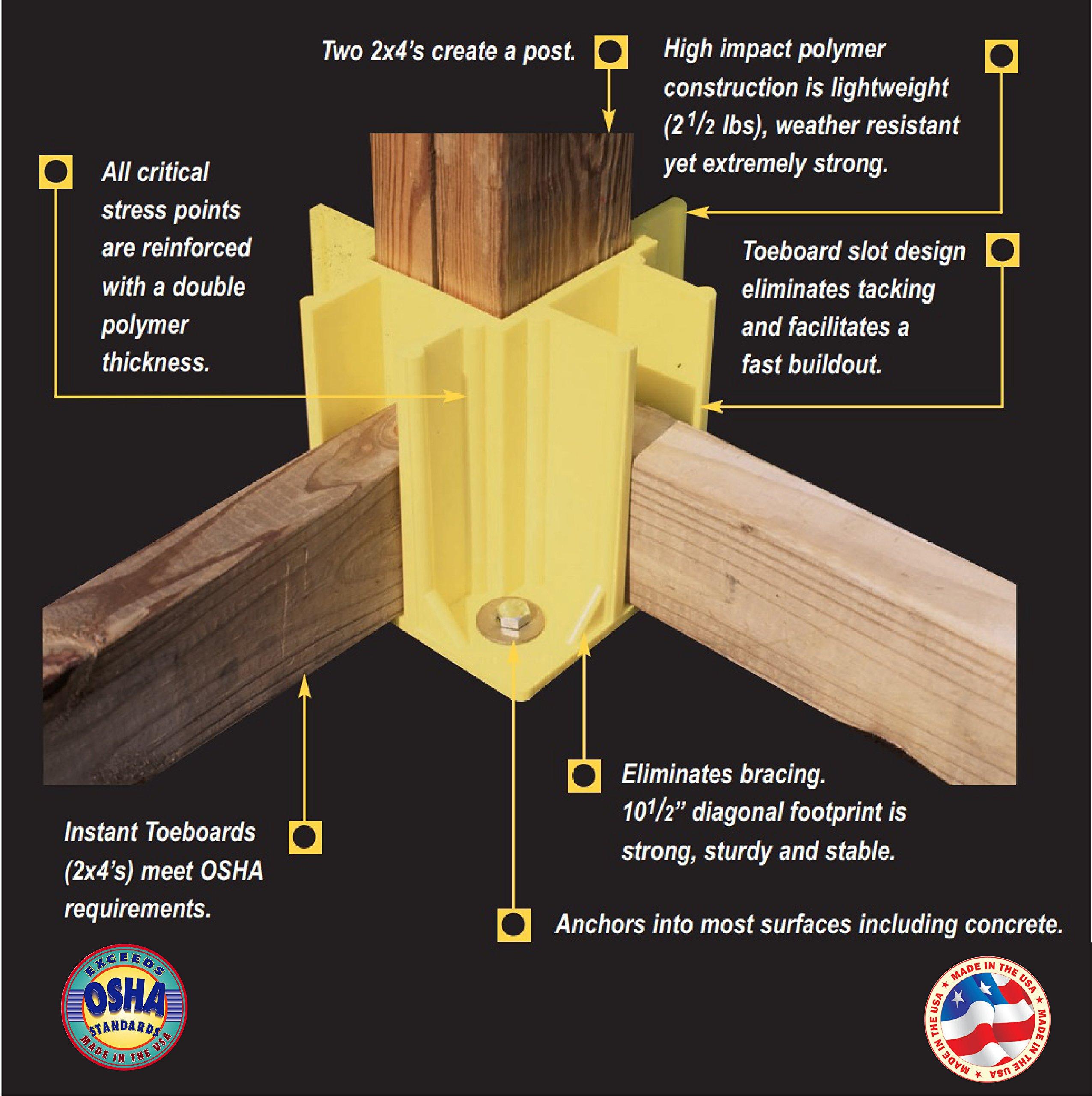 Safety Boot Yellow OSHA Temporary Guard Rail System by Safety Maker (12 Units) by Safety Maker, Inc. (Image #4)