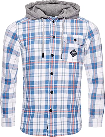 Superdry Hombre Camisa con Capucha Denim Goods Cuadros Azules ...