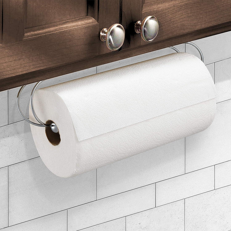 CAXXA Under Cabinet Paper Towel Holder Dispenser for Kitchen Utility Room Laundry Pantry Chrome (1 Pack)