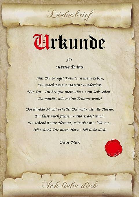 Liebesvertrag Ich Liebe Dich Urkunde Personalisiert Geschenk Karte Frau Mann A4 Amazon De Burobedarf Schreibwaren