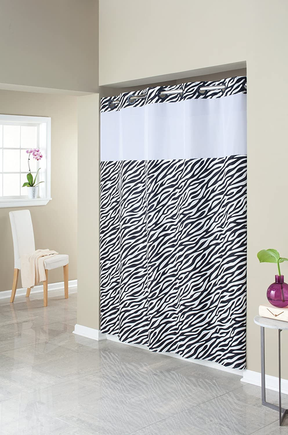 Amazon.com: Hookless RBH40MY407 Fabric Shower Curtain with Built ...