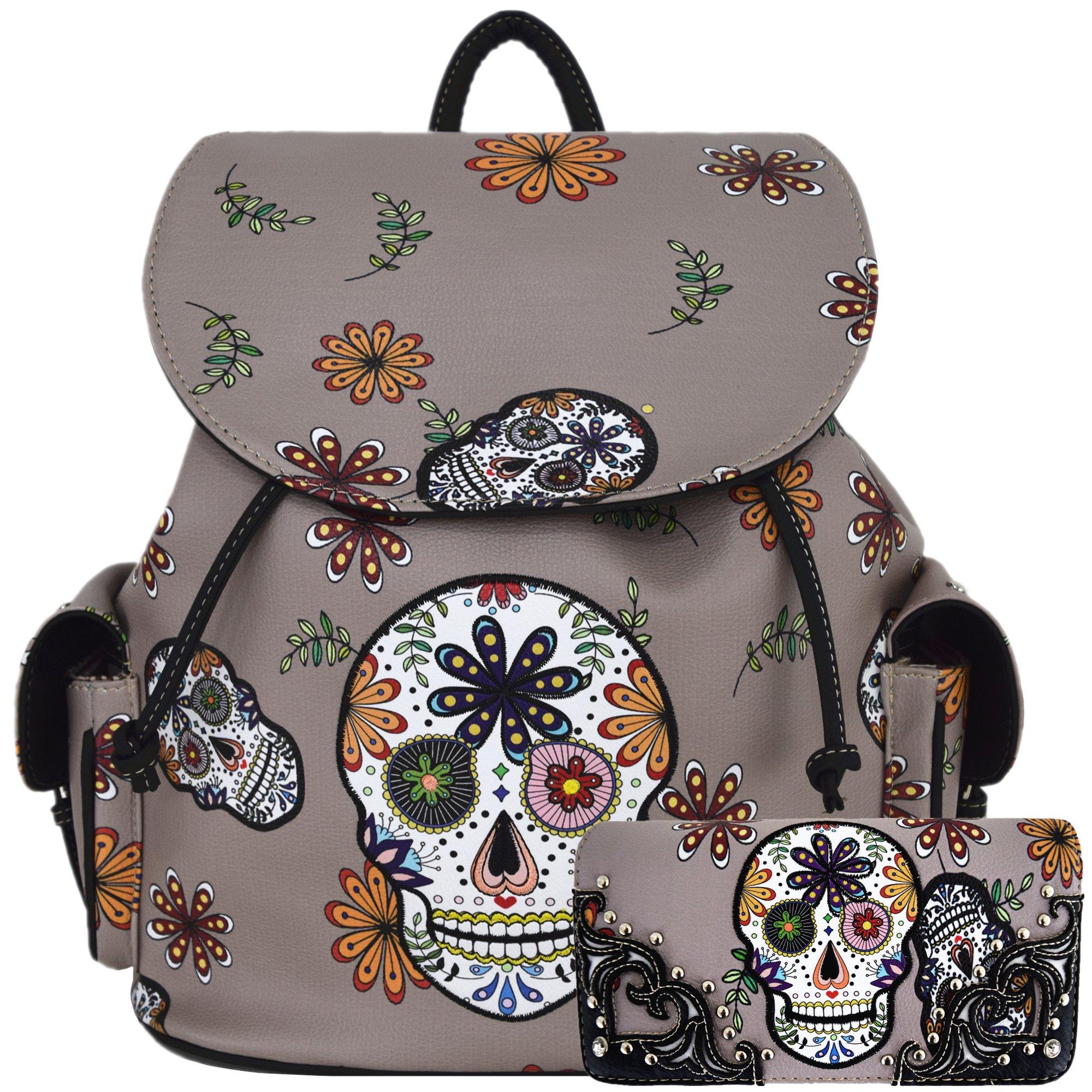 Sugar Skull Day of the Dead Daypack Concealed Carry Backpack Fashion Women Travel Biker Purse Wallet Set (Gray Set)
