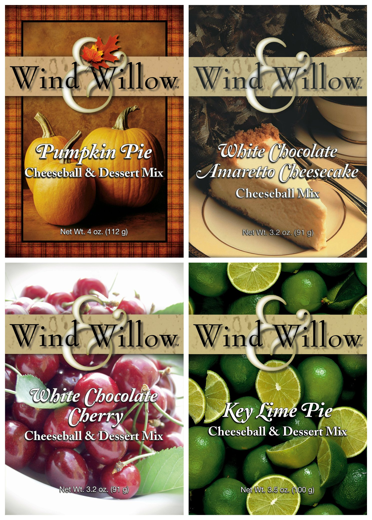 Wind & Willow Sweet Cheeseball and Dessert Mix Bundle (4 Pack): White Chocolate Amaretto Cheesecake, Key Lime Pie, White Chocolate Cherry, and Pumpkin Pie by Wind & Willow