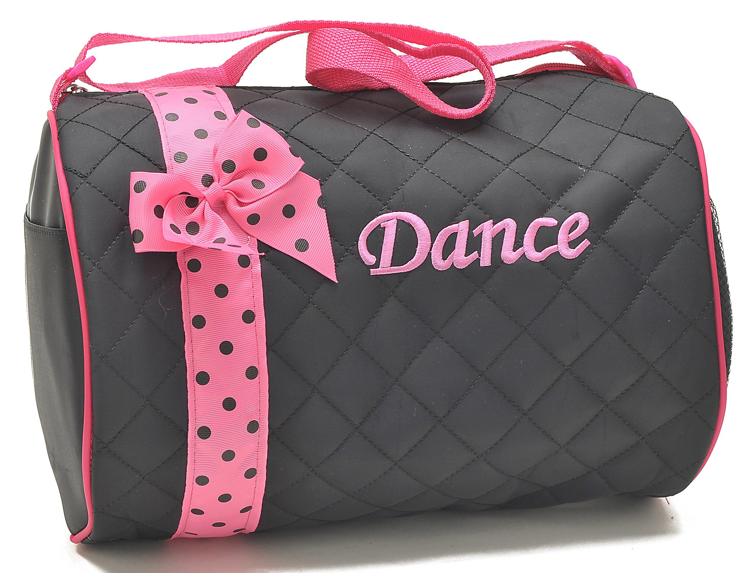 1 Perfect Choice Girl's Dance Duffle Bag, Kids Totes Bag, Quilted Ribbon Polka Dots Black