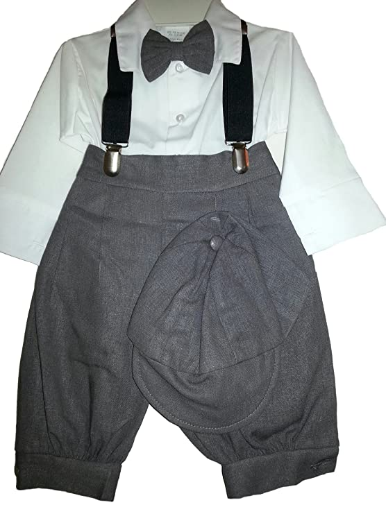 a2741d8dc39 Amazon.com  Fouger Baby Boys  5 - Pc Charcoal Vintage Style Knickerbocker  Set with Black Suspenders - 9 Month  Clothing