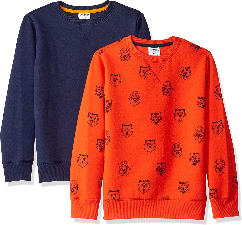 Spotted Zebra Boys' 2-Pack Crew Sweatshirts: Clothing
