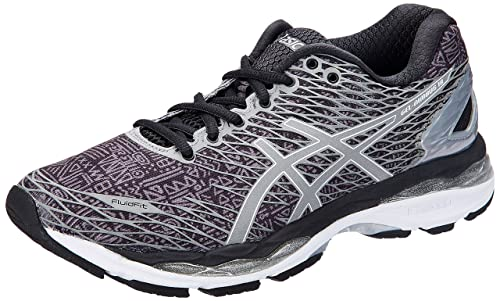 san francisco d5197 f787f ASICS Women's Gel-Nimbus 18 Lite-Show Black, Silver and Shark Running Shoes