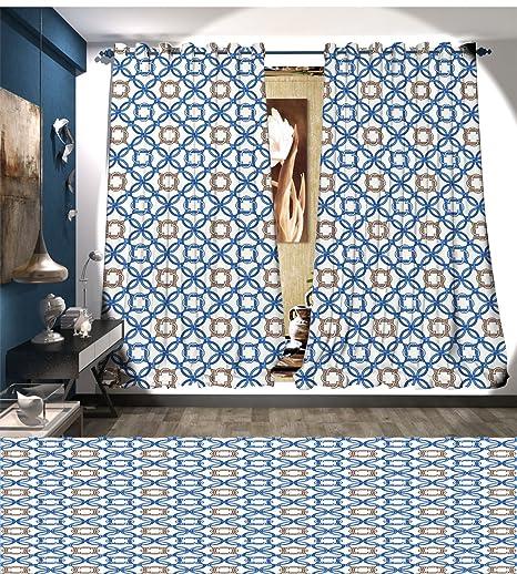 Quatrefoil Room Darkening Wide Curtains Ancient Delft Blue Inspired ...