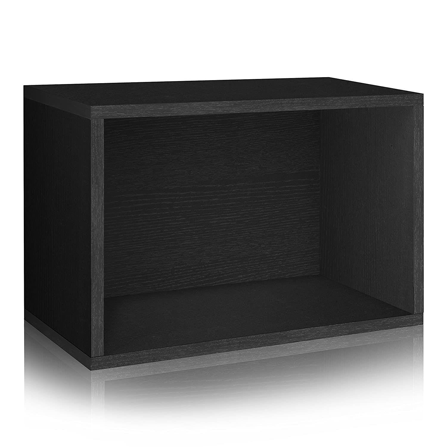 Way Basics Eco Stackable Bookcase Shelving and Shoe Rack, Black Wood Grain(Tool-Free Assembly and Uniquely Crafted from Sustainable Non Toxic zBoard paperboard)