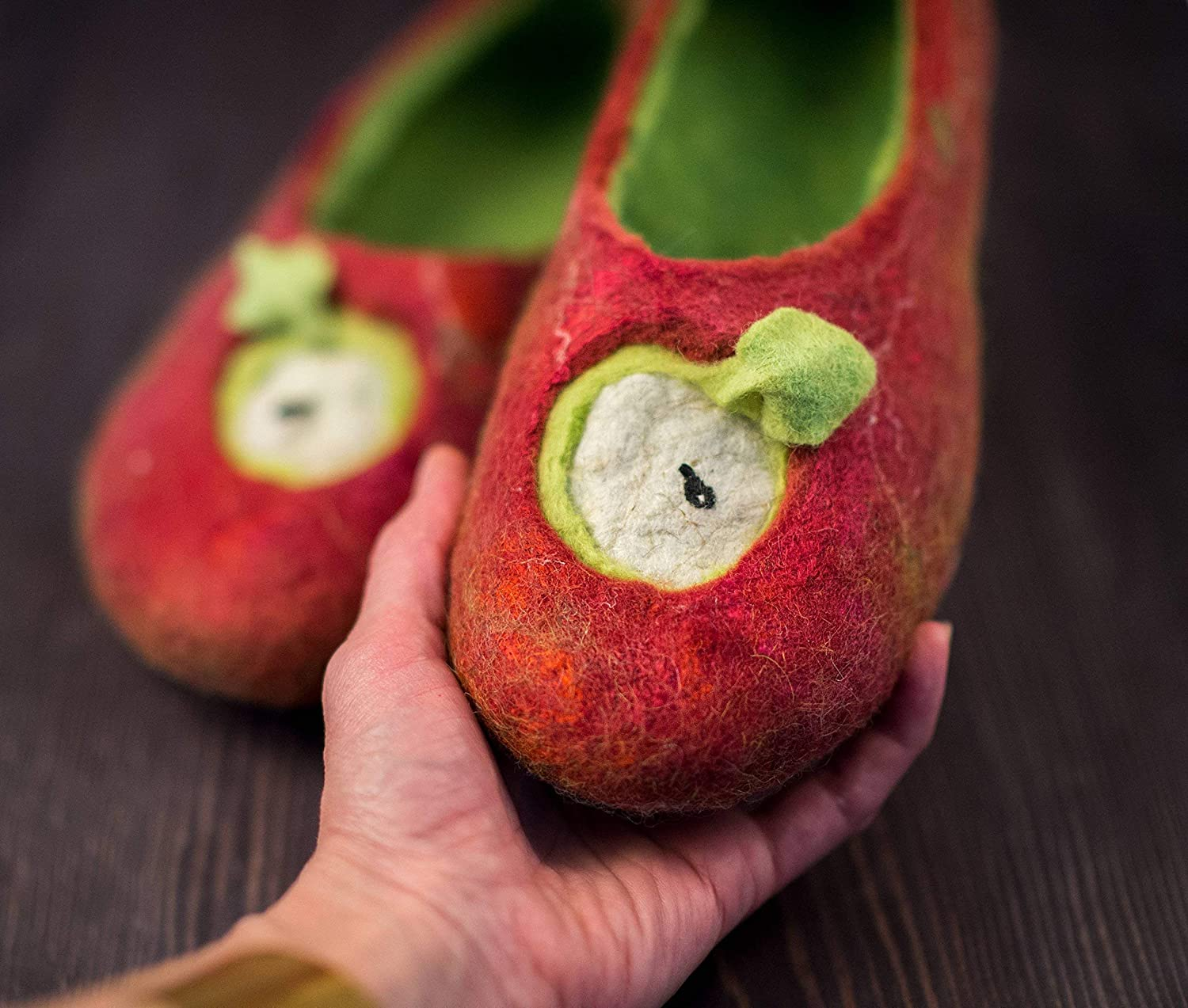 Red Apple handmade felted wool slippers for women Woolen home shoes