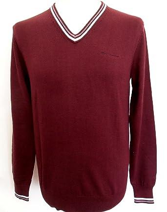 e0a4d2401 Ben Sherman Men s Classic Knitted Tipped V-Neck Long Sleeve Jumper Burgundy  (Small)