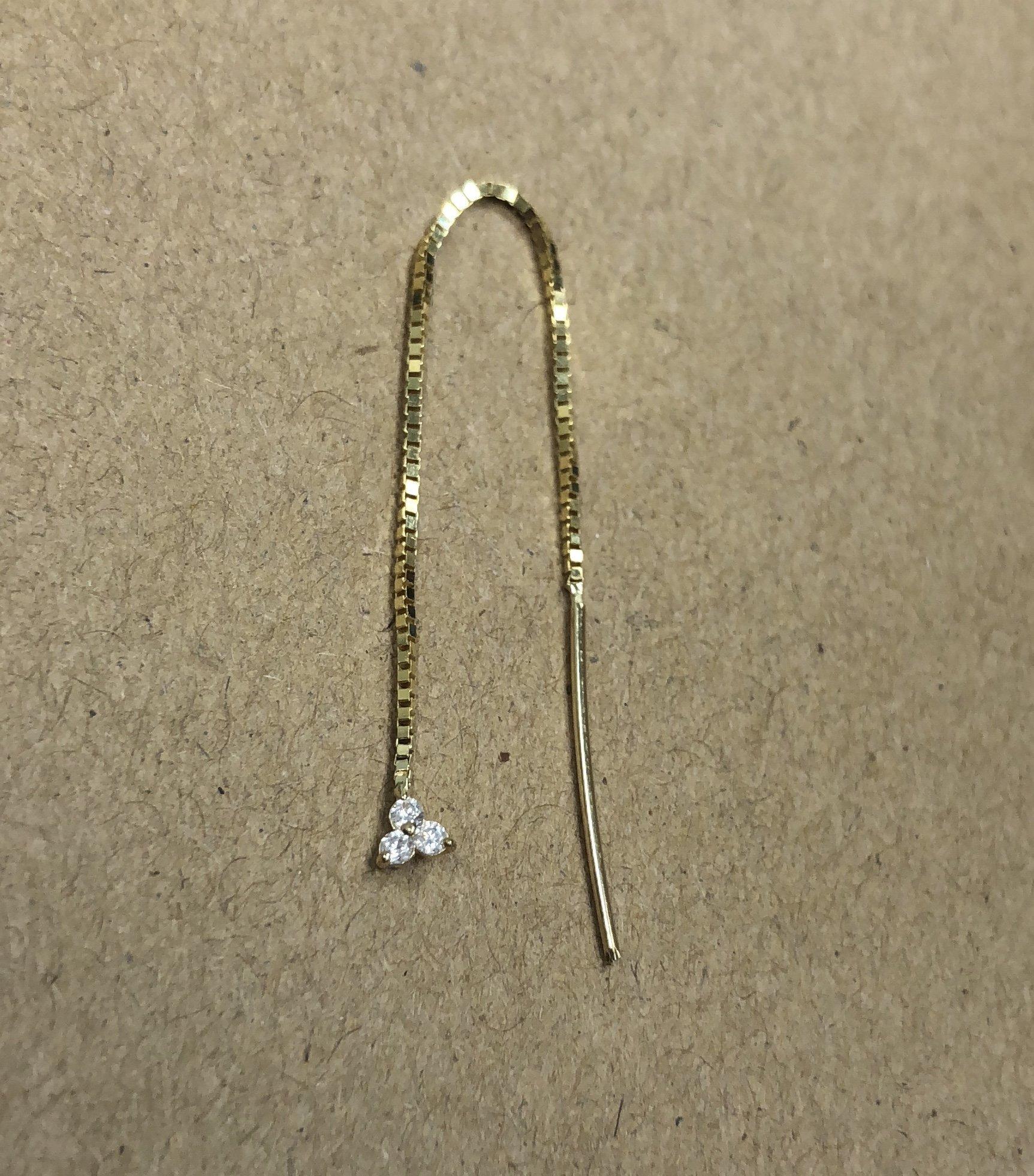 14K Gold & White Sapphire triad Threader Earring