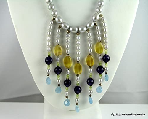 Fine and sterling silver Pearl necklace /& earrings set Designer handmade.