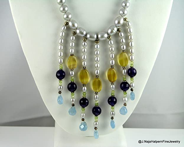 7c80172fc4d1c9 Amazon.com: Silver Pearl Multi Strand Waterfall Necklace with Amethyst,  Yellow Flourite, Blue Chalcedony and Sterling Silver 925 and Earrings Set:  Handmade